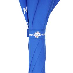 Golfschirm blau mit Logo Schließband