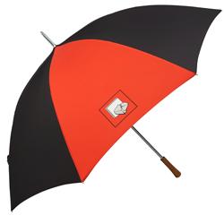 Regenschirm rot-schwarz mit Logo
