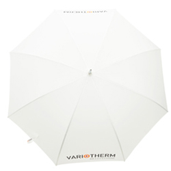 Weißer bedruckter Regenschirm mit Logo